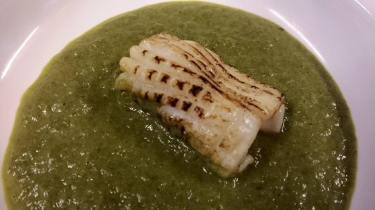 flamed octopus in spinach sauce
