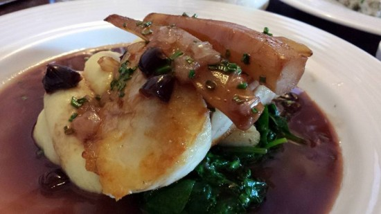 pan-fried turbot with lemon, salsify dates & red wine sauce