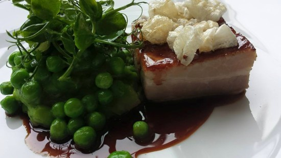 pork belly 30hr sous vide at 60degC with peas