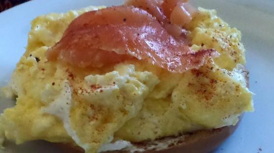 smoked salmon on scarmble eggs at glencree house