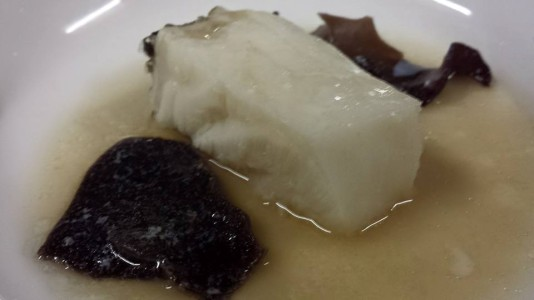 steamed cod with olive oil & soy sauce + wood fungus