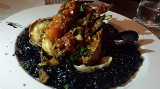 crayfish squid ink risotto