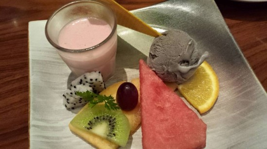 dessert - strawberry mousse, black sesame ice cream, fruits