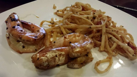 linguine with dry wok prawns