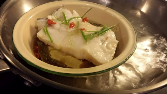 steamed cod in light soy sauce & olive oil