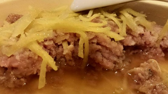 steamed minced pork with salted fish & sliced ginger