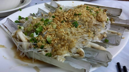 steamed razor clams in garlic & tanhoon