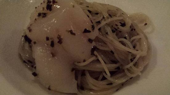 chilled capellini in wild truffle emulsion