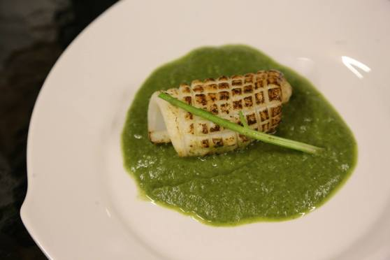 flamed squid in spinach veloute