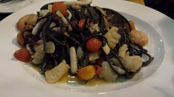 squid ink spaghetti with seafood alio olio