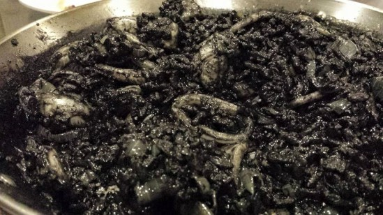 squid-ink risotto with squid