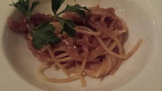 amatriciana - bacon, red wine, tomato pasta