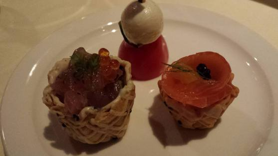 canapes - tuna, salmon & cheese tomatoes