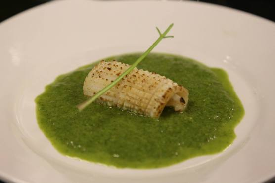 #6 flamed squid in spinach veloute