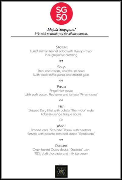 oso SG50 5-course menu