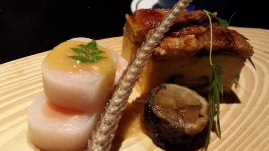 salmon, eel & deepfried eel bone
