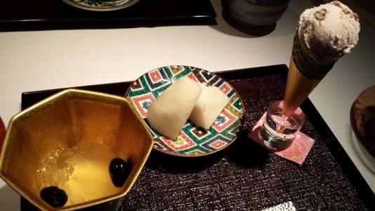 #12 - dessert = black beans yuzu jelly, japanese pear, red beans ice cream