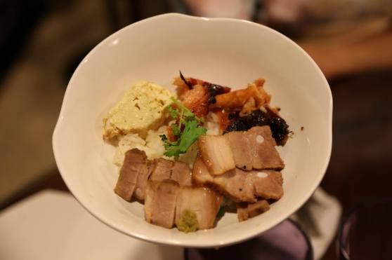 #7 kakuni (japanese braised belly pork) don with miso salmon belly