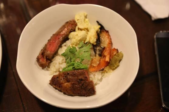#5 wagyu ribeye & black angus ribeye steak don with miso salmon belly