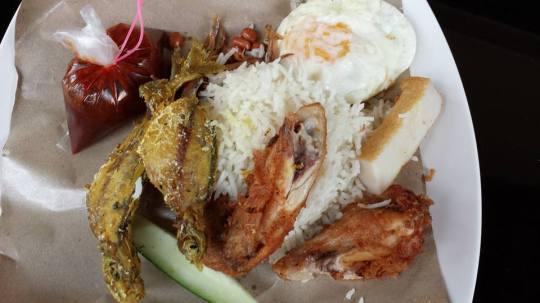 Adam's nasi lemak fish+chicken S$4.50