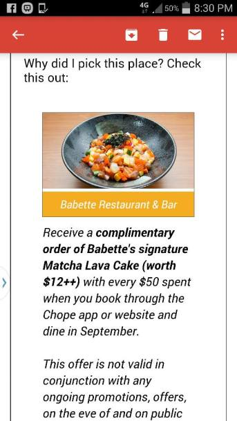 chope's promotion - does not honour chope's offer of complimentary lava cake for every S$50 spent frown emoticon