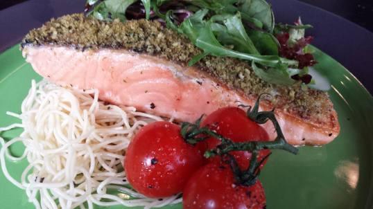 salmon with cold capellini