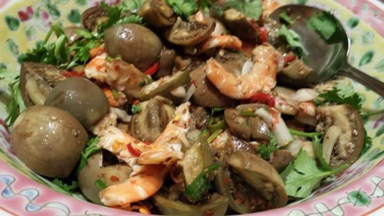 prawn mushroom salad