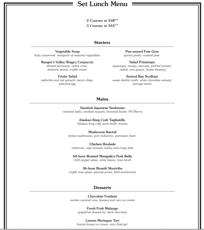 the white rabbit set lunch menu