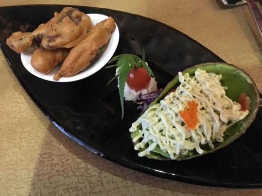 mushroom fritters & seafood salad