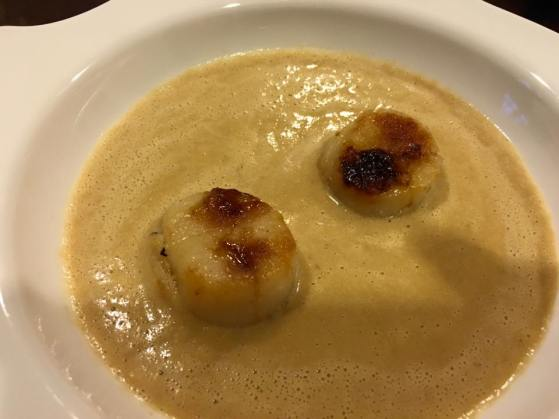 pan seared scallops in prawn vegetable veloute