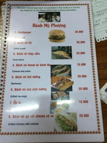 banh mi phuong menu