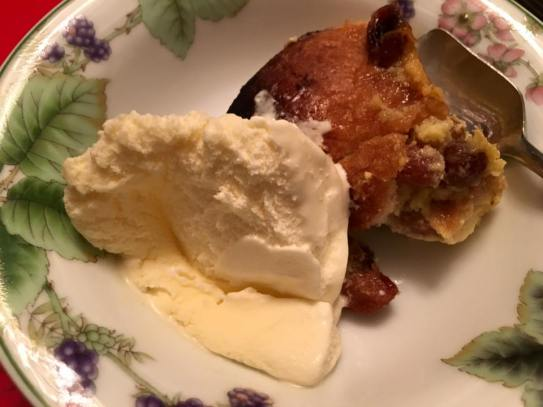 very good bread pudding with vanilla ice cream