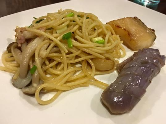 wafu 和风 pasta+wafu 和风 eggplants+teriyaki cod
