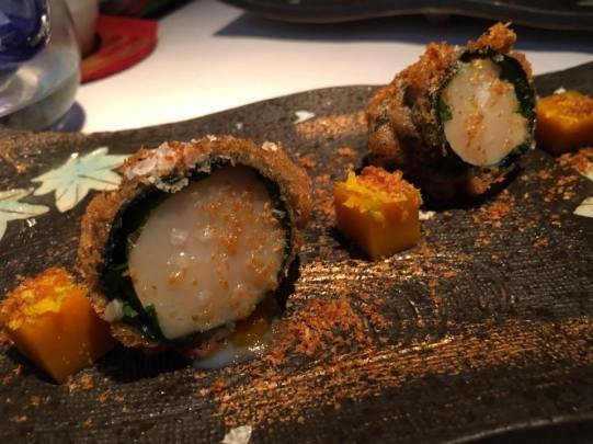 excellent hotate seaweed deepfried roll