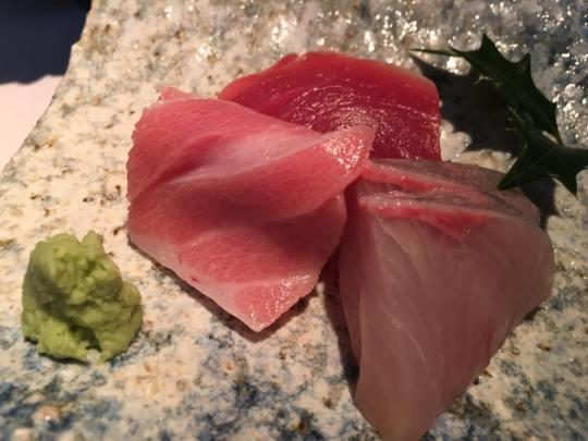 sashimi - chotoro, akami, kampachi