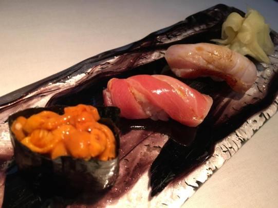 sushi - uni, chutoro, kinmedai (for hachi omakase)