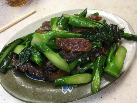 waxed meat & sausage with kailan 腊味炒芥兰
