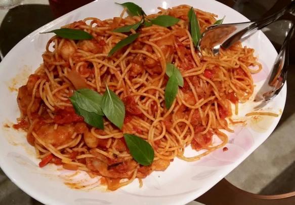#4 prawn spaghetti in pink sauce