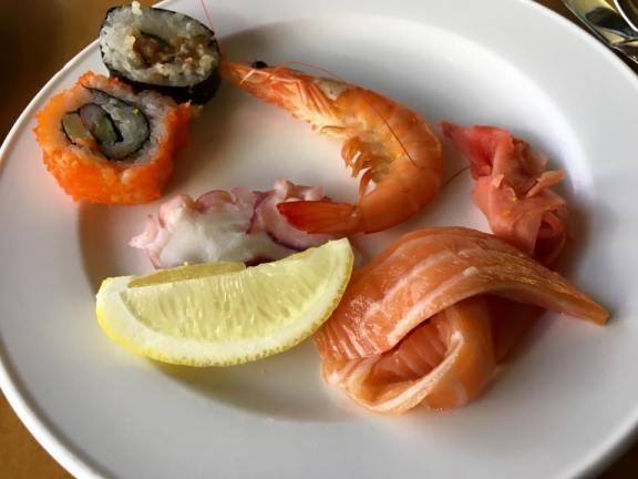 maki, prawn, tako, salmon sashimi, pickled ginger