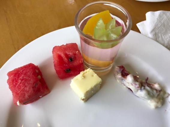 dessert - water melon, new york cheese cake, jelly shooter