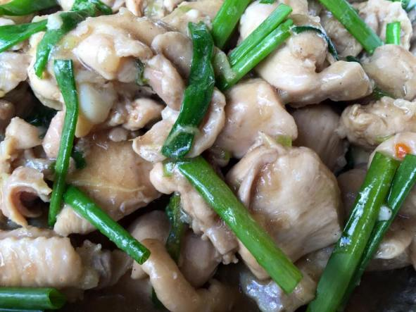 stir-fried chicken with ginger & spring onions 姜葱鸡