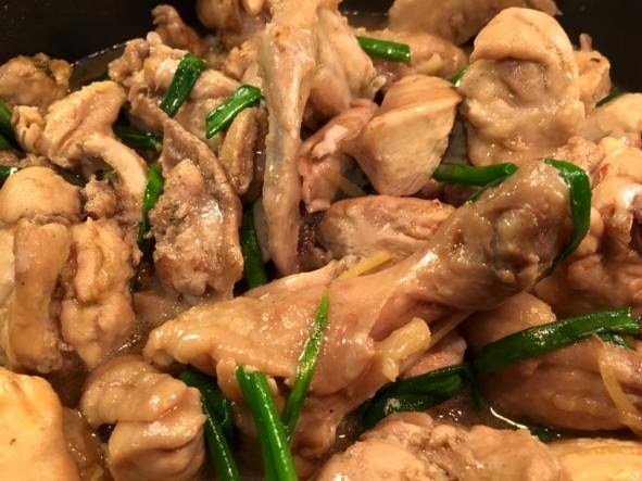 stir-fry chicken with ginger & spring onions