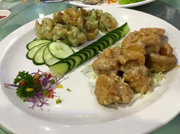 wasabi & peanut sauce prawns