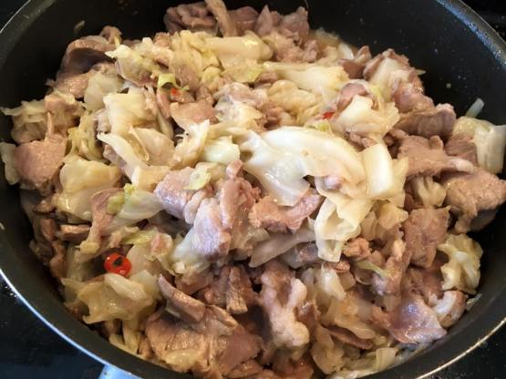 pork collar with cabbage