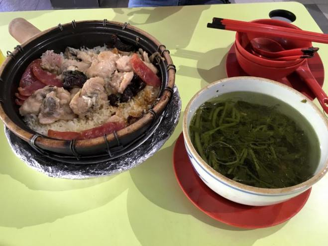 S$10 claypot rice for 2pax + S$4 watercress soup