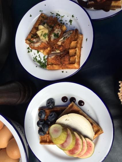 chicken & waffle, cheese & waffle