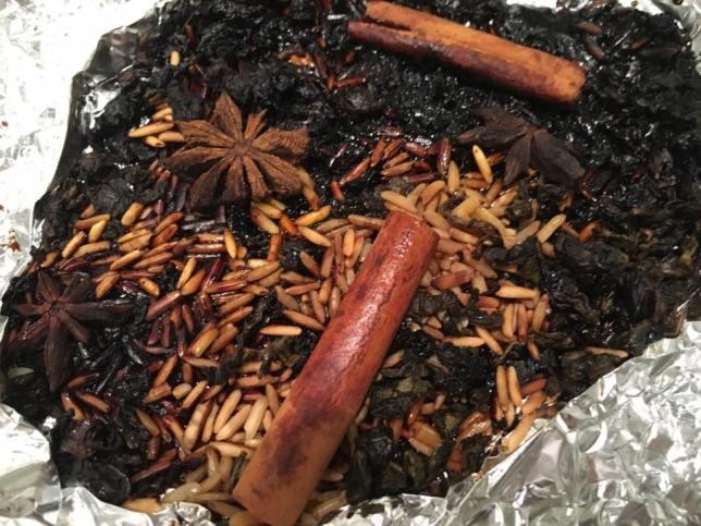 cinnamon bark, star anise, cloves, tea, rice, brown sugar for smoking