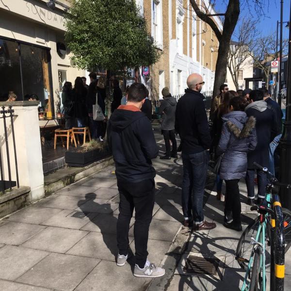 queue at sunday