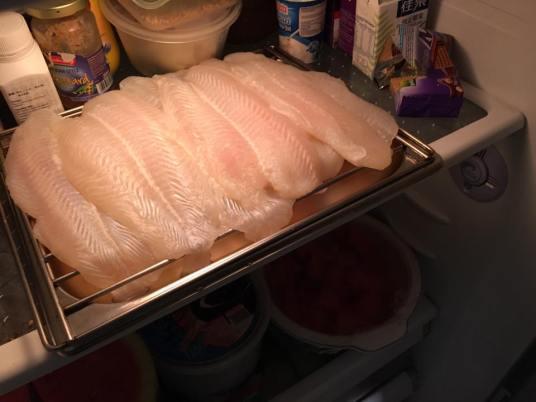 sutchi fillet in the fridge