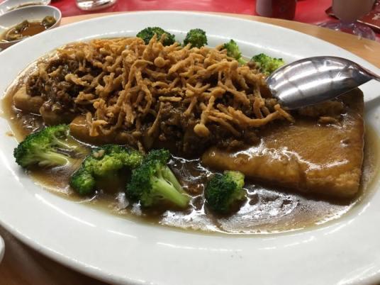 tofu brocoli & deepfired golden mushrooms